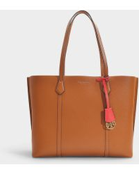 Tory Burch - Perry Triple Compartment Tote In Light Umber Calfskin - Lyst 335d0d4d69a31