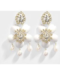 Shourouk - Exclusive Dahlia Crystal Earrings In Crystal, Brass, Swarovski Crystals And Pearls - Lyst