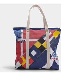 Polo Ralph Lauren - Large Pp Tote Scarf Print In Multicolour Print Canvas - Lyst