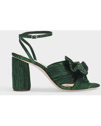 Loeffler Randall Camellia Knotted Metallic Lamé Sandals - Green