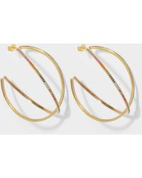 Joanna Laura Constantine - Set Of Two Large Criss Cross Rainbow Hoop Earrings In Gold-plated Brass With Multicolored Stones - Lyst