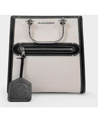 Alexander McQueen The Short Story Bag In Beige Canvas - Natural