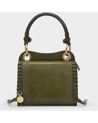 See By Chloé Handbag Tilda In Khaki Lizard Embossed Leather - Green