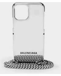 Balenciaga Mini Etui mit Kette für Smartphone aus Metall - Grau