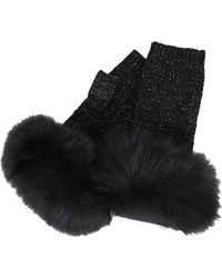 Yves Salomon - Knit Lurex Mittens And Fox Edge - Lyst