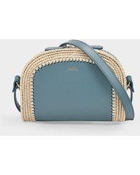 A.P.C. Demi Lune Mini Bag In Blue Grey Leather With Raffia