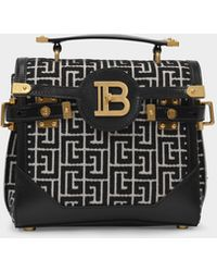 Balmain - Bbuzz 23 Bag In Monogram Jacquard Canvas - Lyst
