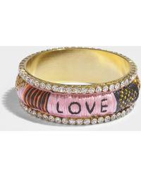 Shourouk - Kashmiri Fuchsia Bracelet In Pink Brass, Swarovksi Crystals And Raffia - Lyst