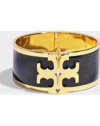 Tory Burch - Enamel Raised Logo Wide Cuff In In Plated Brass And Black Enamel - Lyst