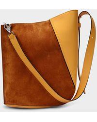 Lanvin Hook M Asymetrical Bucket Bag In Honey Leather - Brown