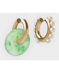 Timeless Pearly Boucles d'oreilles Crystal And Pearl avec Détail Vert et Doré - Métallisé