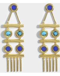 Joanna Laura Constantine - Statement Earrings In Gold-plated Brass With Lapis Lazuli And Malachite - Lyst