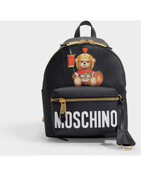 Moschino Teddy Backpack In Black Pvc