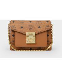 MCM Crossbody Bag Patricia In Cognac Visetos Canvas - Brown