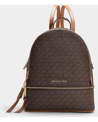 MICHAEL Michael Kors - Rhea Zip Medium Backpack In Brown Canvas - Lyst
