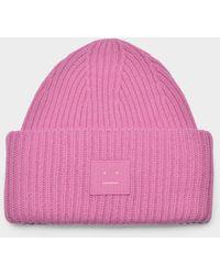 Acne Studios Pansy N Face Beanie In Bubblegum Pink Wool