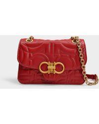Ferragamo - Gancio Quilting Small Shoulder Bag In Pink Calfskin - Lyst f82311ad95237