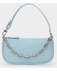 BY FAR Tasche Mini Rachel aus blauem kroko-geprägtem Leder