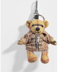 Burberry Thomas Bear Bambi Shirt Bag Charm In Antique Yellow Vintage Check Cashmere