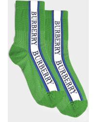 Burberry - Knit Short Socks In Bright Prairie Green Cotton - Lyst