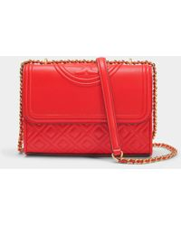 Tory Burch - Fleming Small Convertible Shoulder Bag In Exoctic Red Lambskin Leather - Lyst