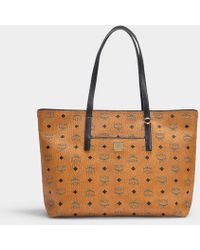 MCM Anya Shopper Shopper Medium Bag In Cognac Coated Canvas - Brown