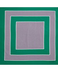 Burberry - Dot Border Square Scarf In Tourmaline Green Cotton - Lyst