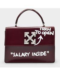 Off-White c/o Virgil Abloh Handbag Jitney Turn To Open 1.4 In Burgundy Calfskin - Purple