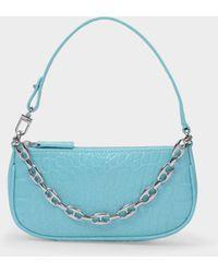 BY FAR Mini Rachel Bag In Aqua Blue Croco Embossed Leather