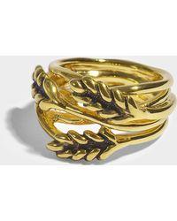 Aurelie Bidermann - Large Wheat Ring In 18k Gold-plated Brass - Lyst