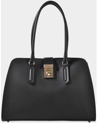 Furla - Milano Whitney Bag In Onyx Grained Calfskin Leather - Lyst