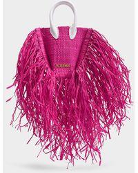 Jacquemus Le Petit Baci Fringed Straw Bag - Pink