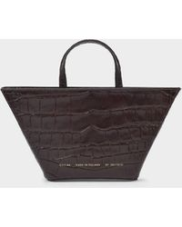 Chylak Trapeze Bag In Glossy Brown Croc Embossed Leather
