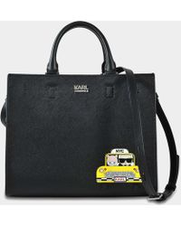 Karl Lagerfeld Mini Sac Cabas K/Klassik en Cuir Saffiano Noir 8x9Yld