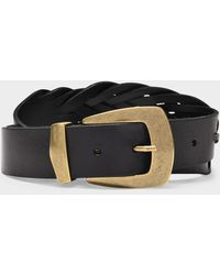 KATE CATE Hand Braided Exagon Belt In Black Leather