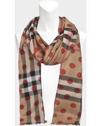 Burberry - 220x70 Dot Gauze Giant Check Stole In Military Red Wool And Mulberry Silk - Lyst