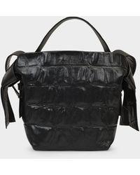 Acne Studios Musubi Mini Croco Bag In Black Leather