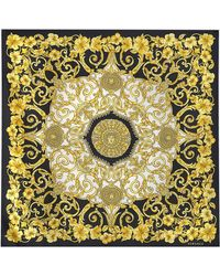Versace Gold Hibiscus 90x90 Printed Scarf In Multicolored Silk - Metallic