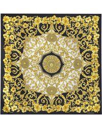 84cce04e69 Foulard Imprimé Gold Hibiscus 90x90 en Soie Multicolore