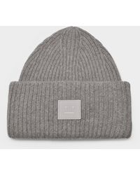 Acne Studios Pansy N Face Beanie In Mix Gray Wool