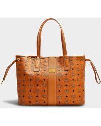 MCM Liz Project Visetos Reversible Medium Shopper Bag In Cognac Coated Canvas - Brown