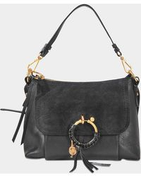 See By Chloé Small Joan Crossbody Bag In Black Grained And Suede Calfskin