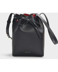 Mansur Gavriel - Mini Bucket Bag In Black And Flamma Vegetable Tanned Leather - Lyst