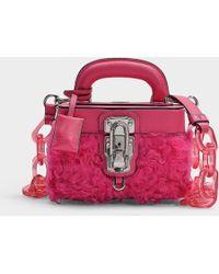 Moschino Makeup Box Bag In Fuchsia Wool - Pink