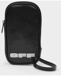 Off-White c/o Virgil Abloh Étui Pour Iphone à Logo en Cuir Blanc Noir