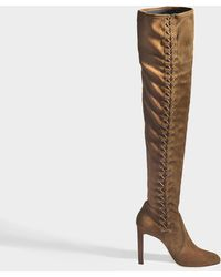 Jimmy Choo - Marie 100 Long Tie Up Boots In Beige Suede Leather And Stretch Suede Leather - Lyst
