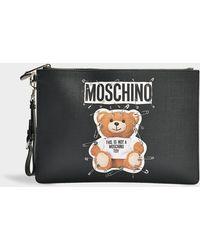Moschino - Clutch Teddy Bear In Black Calfskin - Lyst