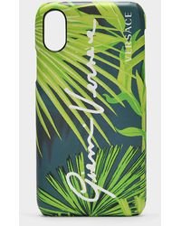 Versace Phone Cover In Jungle Printed Pvc - Green