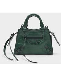 Balenciaga Mini Tasche Neo Classic City aus grünem, kroko-gep