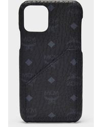 MCM Iphone 11 Pro Cover In Black Visetos Pvc